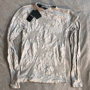 BEBE Lace-like Material Long-sleeved Top